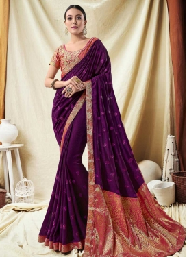 Purple and Salmon Embroidered Work Designer Traditional Saree