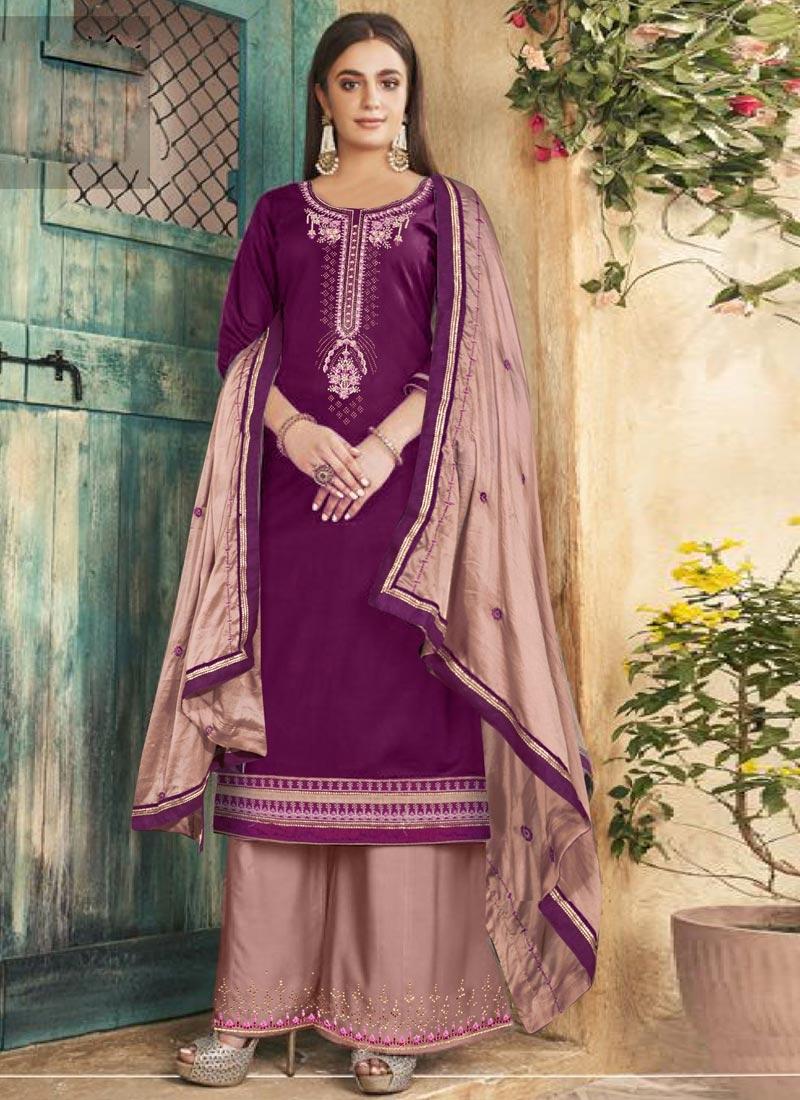 Purple and Salmon Embroidered Work Palazzo Style Pakistani Salwar Kameez