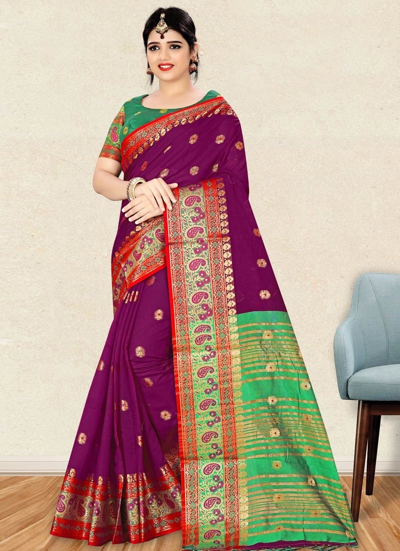 Purple and Sea Green Art Silk Classic Saree For Casual