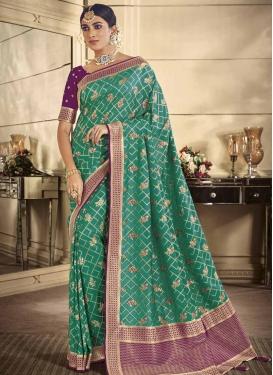 Purple and Sea Green Designer Contemporary Style Saree