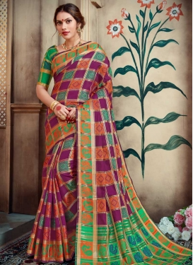 Purple and Sea Green Thread Work Contemporary Style Saree