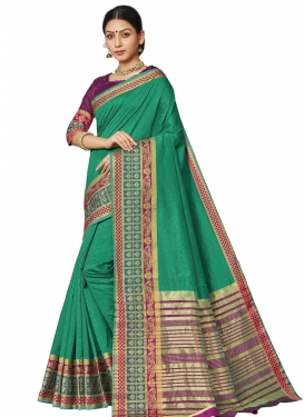 Purple and Sea Green Thread Work Designer Traditional Saree