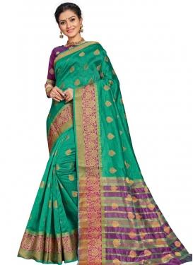 Purple and Sea Green Trendy Classic Saree