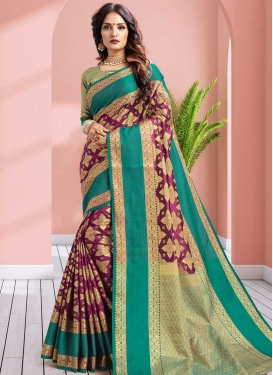Purple and Sea Green Trendy Saree For Festival
