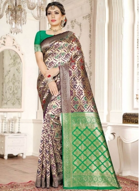 Purple and Sea Green Woven Work Contemporary Style Saree