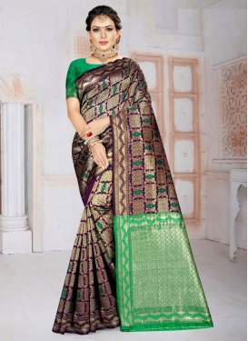 Purple and Sea Green Woven Work Designer Contemporary Saree