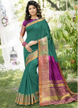 Purple and Sea Green Woven Work Designer Traditional Saree