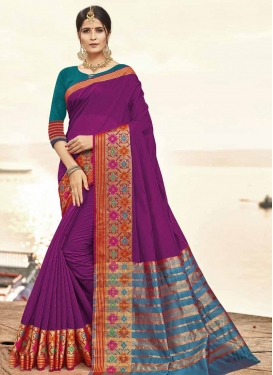 Purple and Teal Art Silk Contemporary Saree