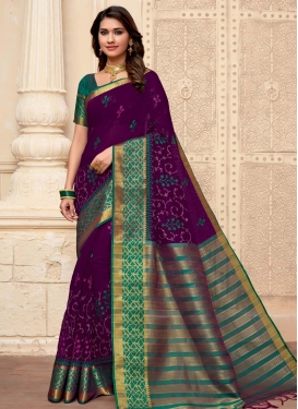 Purple and Teal Designer Traditional Saree