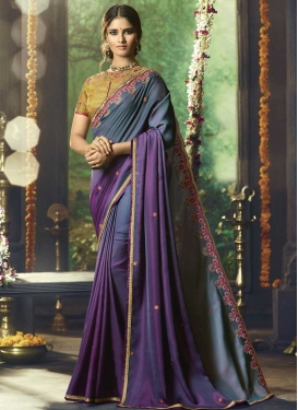 Purple and Teal Embroidered Work Designer Contemporary Saree