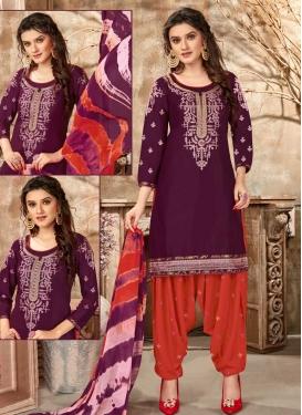 Purple and Tomato Designer Patiala Salwar Kameez