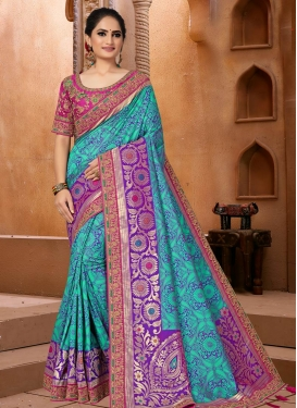 Purple and Turquoise Embroidered Work Trendy Classic Saree