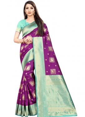 Purple and Turquoise Woven Work Designer Contemporary Saree