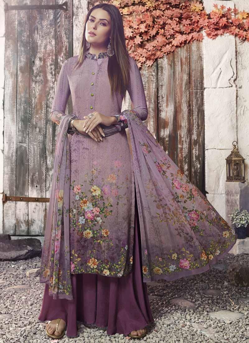 Purple and Violet Digital Print Work Palazzo Style Pakistani Salwar Kameez