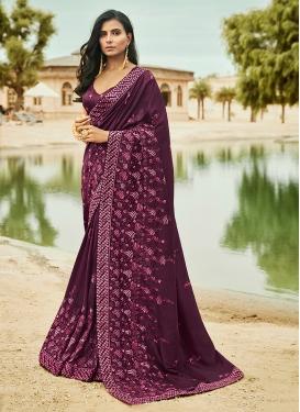 Purple Art Silk Ceremonial Traditional Saree