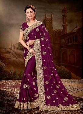 Purple Embroidered Chiffon Satin Designer Saree