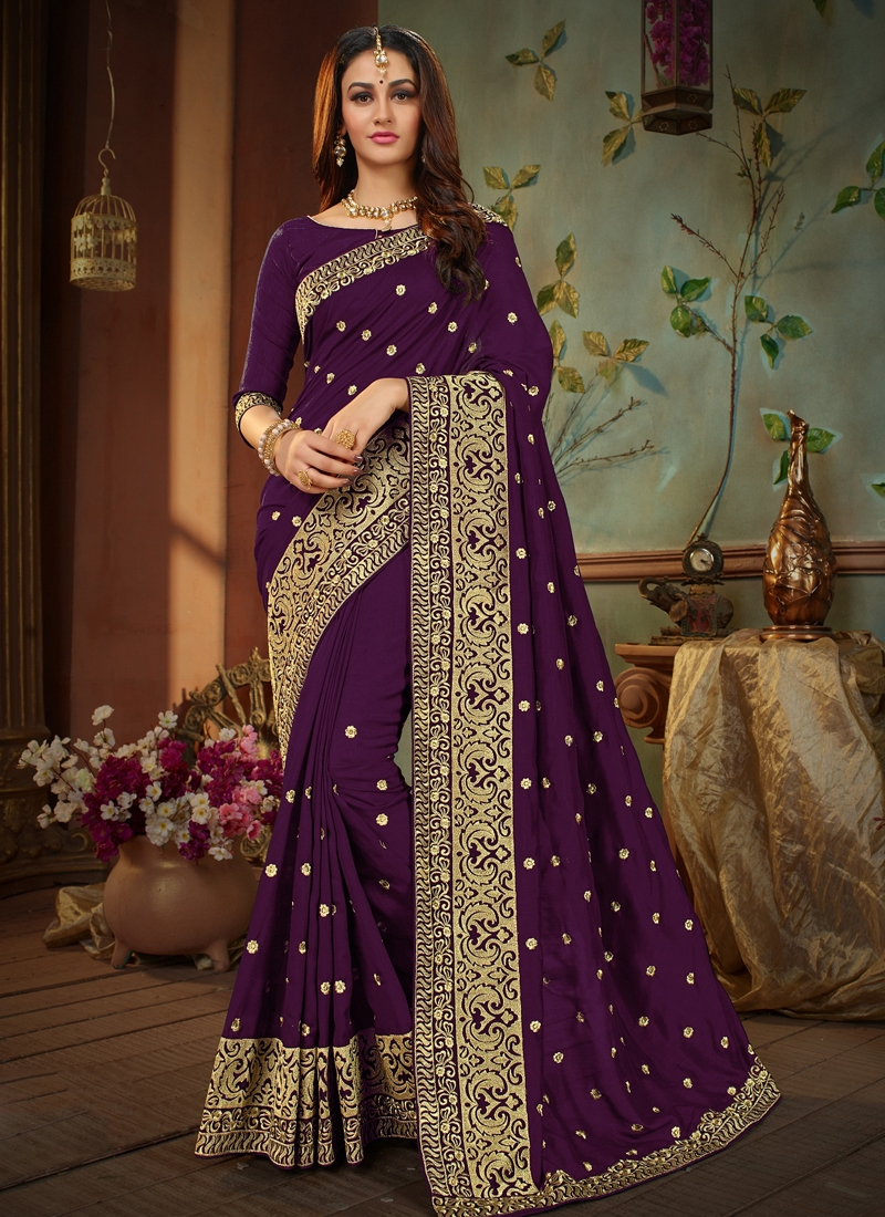 Purple Embroidered Festival Designer Traditional Saree