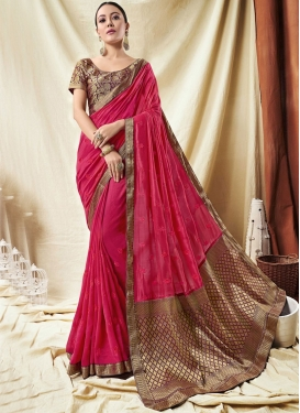 Radiant Art Silk Rose Pink Lace Trendy Saree