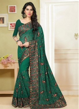 Radiant Faux Georgette Trendy Classic Saree For Ceremonial