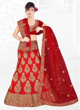 Radiant Red Satin Silk Trendy Designer Lehenga Choli
