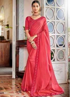 Rangoli Lace Rose Pink Designer Saree