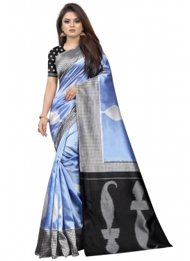 Raw Silk Black and Light Blue Designer Contemporary Saree For Casual