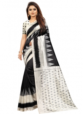 Raw Silk Black and Off White Designer Contemporary Style Saree For Casual