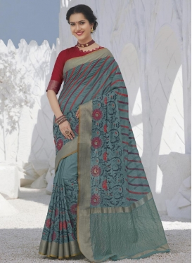 Raw Silk Designer Contemporary Style Saree For Ceremonial