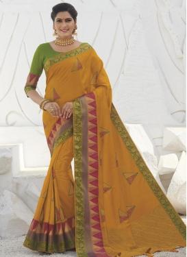 Raw Silk Embroidered Work Designer Traditional Saree