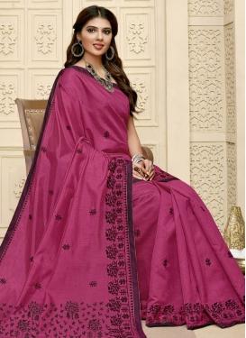 Raw Silk Embroidered Work Traditional Designer Saree
