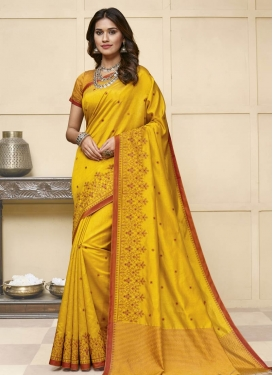 Raw Silk Embroidered Work Trendy Classic Saree
