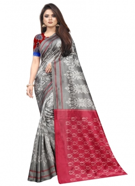 Raw Silk Grey and Red Designer Contemporary Saree