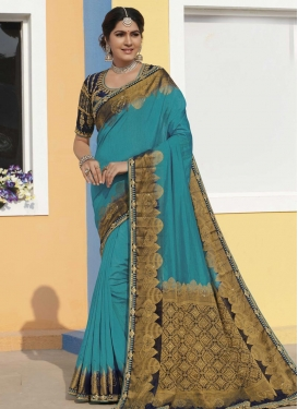 Raw Silk Navy Blue and Teal Embroidered Work Designer Traditional Saree