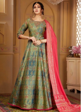 Raw Silk Olive and Teal Bandhej Print Work Readymade Anarkali Suit