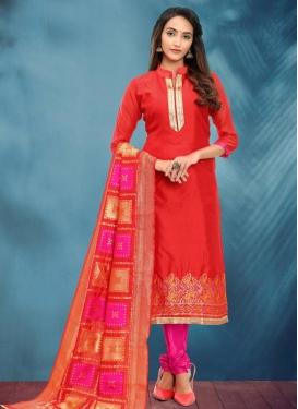 Red and Rose Pink Churidar Salwar Kameez