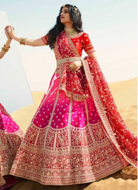 Red and Rose Pink Embroidered Work Trendy Lehenga Choli