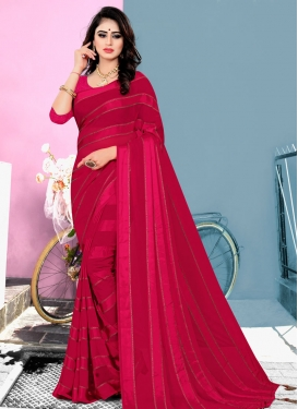 Red and Rose Pink Stone Work Designer Traditional Saree