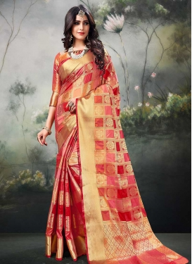 Red and Rose Pink Thread Work Designer Contemporary Saree