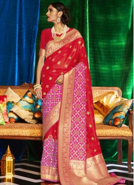 Red and Rose Pink Traditional Designer Saree For Ceremonial