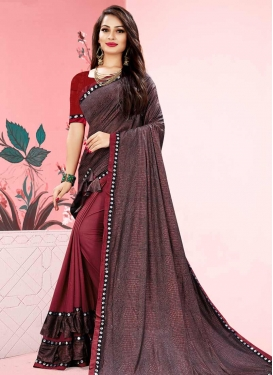Red and Salmon Lycra Half N Half Trendy Saree For Casual