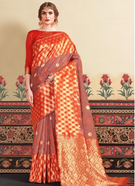 Red and Salmon Woven Work Designer Contemporary Style Saree