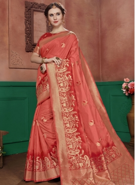 Red and Salmon Woven Work Trendy Classic Saree