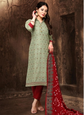 Red and Sea Green Chanderi Silk Pant Style Pakistani Salwar Kameez