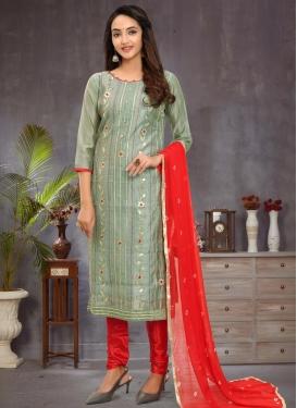 Red and Sea Green Chanderi Silk Trendy Churidar Suit