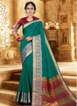 Red and Sea Green Designer Contemporary Style Saree
