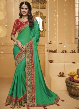 Red and Sea Green Satin Silk Trendy Classic Saree