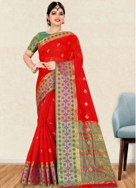 Red and Sea Green Thread Work Contemporary Style Saree