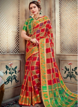 Red and Sea Green Thread Work Designer Contemporary Saree