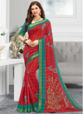 Red and Sea Green Trendy Classic Saree