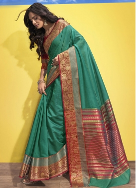Red and Sea Green Woven Work Contemporary Style Saree